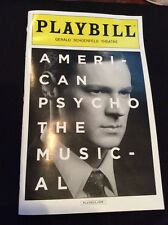 AMERICAN PSYCHO THE MUSICAL PLAYBILL NYC 2016 GERALD CHOENFELD THEATRE