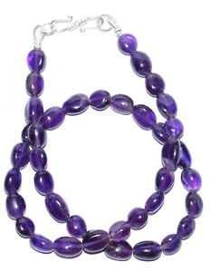 """925 Sterling Silver 12-30"""" Strand Necklaces Purple Amethyst Gemstone 7x9mm Beads"""