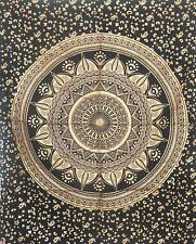 Black Gold Mandala Cotton Indian Small Tapestry Poster Handmade Home Decor Art
