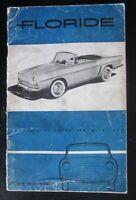 RENAULT Floride 1092 Notice entretien manuale uso e manutenzione libretto 1959