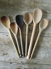More details for job lot of 6 old used wooden spoons kitchenalia farmhouse rustic shabby