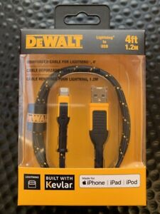DEWALT 4FT KEVLAR REINFORCED LIGHTNING TO USB CHARGING CABLE FOR APPLE IPHONE