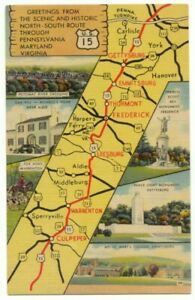 U.S. 15 Map Pennsylvania Maryland Virginia Linen Postcard