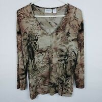 Chicos Travelers WOmens Top Size 1 M Brown V Neck Long Sleeve Map Travel Print