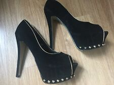 Dolcis Black Gold Studded Peep Toe High Shoes Size 7
