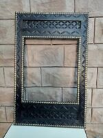 Wooden Photo Frame Old carved mirror Frame Hand Carved Brass Fitted Art
