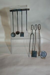 Miniature Dollhouse Vintage Aged Forged Iron Colonial Fireplace Kitchen Tools