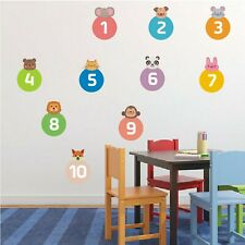 Wall Stickers Cute Cartoon Number Animals Removable Decals For Children's Room