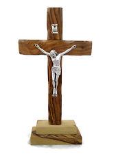 "4.7"" 12 cm Olive Wood Standing Altar Table Cross Crucifix Bethlehem Holyland"