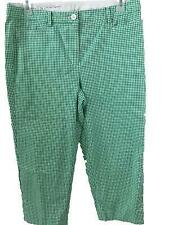 Talbots Woman capris pants size 14 Perfect Skimmer green white checks 2 pockets