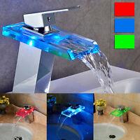 LED Waschtischarmatur Waschbeckenarmatur Wasserfall Einhandmischer  Wasserhahn