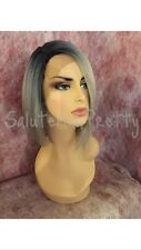 100% Synthetic Hair 1/Platinum Silver Deep Part Lace Front Bob Wig