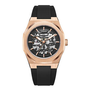 Men's Edison Roadster Automatic Watch Rose Gold Colour Hexagon Case Black Dial
