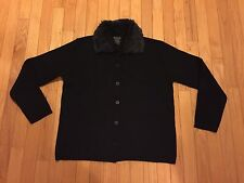 Silvia Novelli Black Sweater Size M Made In Italy Button Front Faux Fur Collar