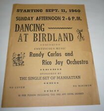 Rare Sept 11 1960 Birdland Night Club Flyer Randy Carlos Manhattan New York NY