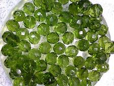VTG 50 PERIDOT GREEN MULTI-FACETED GLASS SPACER BEADS 12mm HAUTE  #042312k