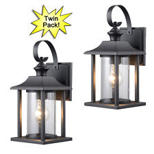 Black Outdoor Patio / Porch Exterior Light Fixtures - Twin Pack #73478