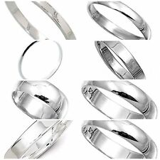 Sterling Silver 925  Rings 2mm,3mm,4mm,6mm,8mm Band Width Sizes G-Z Curve Flat