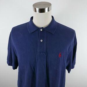 Polo Ralph Lauren Mens Cotton Short Sleeve Solid Navy Blue Polo Shirt Size XL