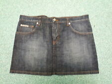 "Calvin Klein Denim Mini Skirt Waist 32"" Length 14"" Dark Blue Ladies Denim Skirt"