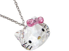 Hello Kitty Swarovski Element Crystal Pendant Necklace -18k white GP - 097