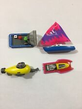 Micro Machines Galoob  4 Boat Lot Submarine Sailboat Speedboat Air Boat