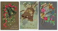 3 Postcard Lot Merry Christmas Bells Holiday Flowers Embossed Felt