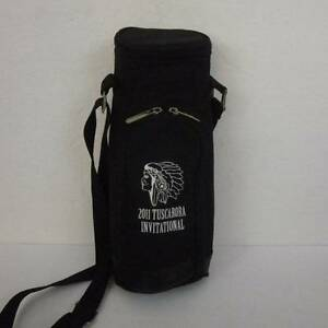 Picnic at Ascot Wine/Water Bottle Tote Black Canvas Insulated Crossbody Strap
