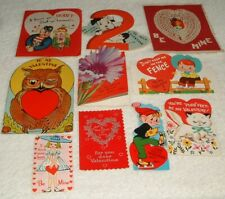 Vintage Valentines 10 Card Lot Owl Hears Dog Flowers & More Used