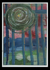 Sun Blares Picket Fence 2014 Original ACEO oil PAINTING Signed Art C Peterson