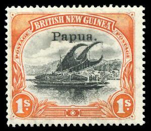 "Papua 1906 ""Lakatoi"" 1s black & orange very fine mint. SG 44."