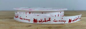 Santa sleigh Christmas ribbon. White & red Xmas snow gift wrap SOLD PER METER UK