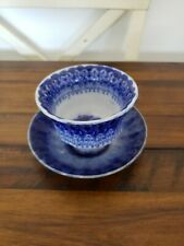 ANTIQUE FLOW BLUE TRANSFERWARE CUP AND SAUCER