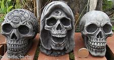 Set of 3 Small Skulls - Stone Garden Ornament - Hand Cast - Tallest 11 cms