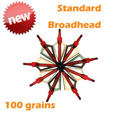 12x Archery Broadheads 100 Grain Compound Bow Crossbow Hunting Arrows Tips USA