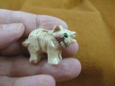 (Y-Tas-De-6) little white red Tasmanian Devil marsupial figurine Soapstone Peru