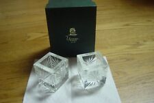 """Pair 3"""" Cut Etched Glass Votive Candle Holder Heavy Crystal Yeoman England"""