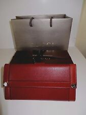 $518 NEW Women's GUCCI LEATHER Continenta Wallet in Red Desert Gift box Ribbon