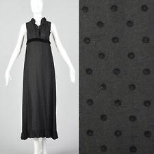 Xs 1960s Henry Harris Black Maxi Vtg Empire Waist Vintage Sleeveless 60s Boho