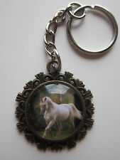 Unicorn horse  Key Chain Ring glass cabochon bronze tone gift green