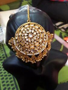 Indian Bollywood Pearl Maang Tikka Forehead Women & Girls Wedding Party Jewelry