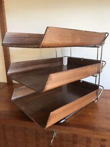 Mid Century Modernist Vintage 1960's Triple Teak Filing Trays By Mallod