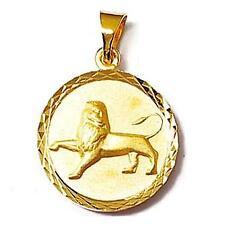 Pendentif Médaille Zodiaque Lion 18 mm Plaqué Or 18K Dolly-Bijoux