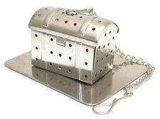 Stainless steel treasure box shaped tea infuser with tray