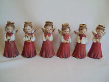 VINTAGE INARCO CERAMIC ANGELS CAROLES FIGURINES SET OF SIX AS IS