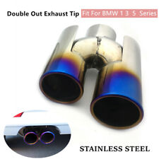 1*Car Double Out Stainless Steel Exhaust Pipe End Tip Fit For BMW 1 3  5  Series