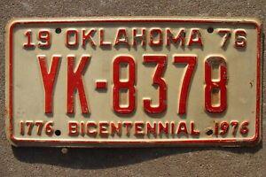 1976 Original Vintage Oklahoma Bicentennial License Plate Ratrod deco Mancave