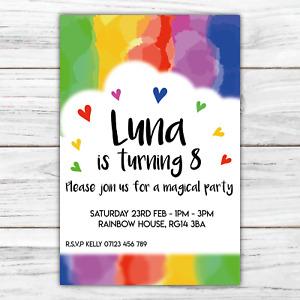 10 *PERSONALISED* party WATERCOLOUR rainbow HEARTS birthday invitations invites