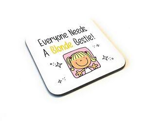 Cartoon Style Funny Blonde Bestie Best Friends Wooden Gift Coaster Idea Birthday