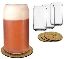 Ecodesign Drinkware Libbey Beer Glass Can Shaped 16 oz 4 PACK w/coasters